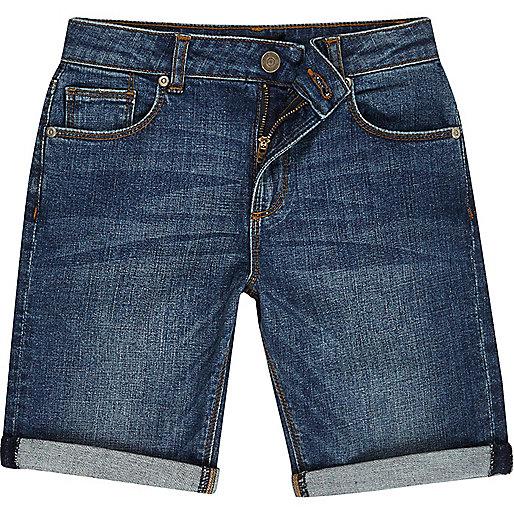 Boys blue wash denim shorts