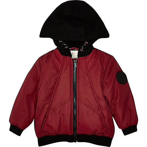 Mini boys red padded jacket with hood