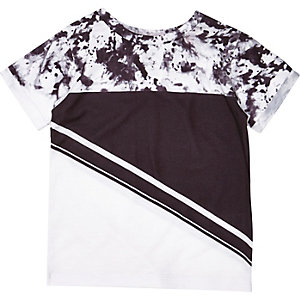 Mini boys black block print t-shirt