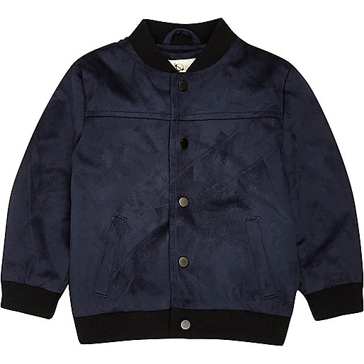 Mini boys navy faux suede bomber jacket