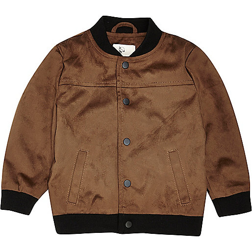 Mini boys tan faux suede bomber jacket