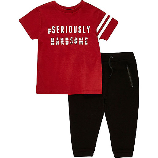 Mini boys red print t-shirt joggers outfit