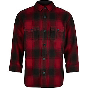 Boys red check shirt