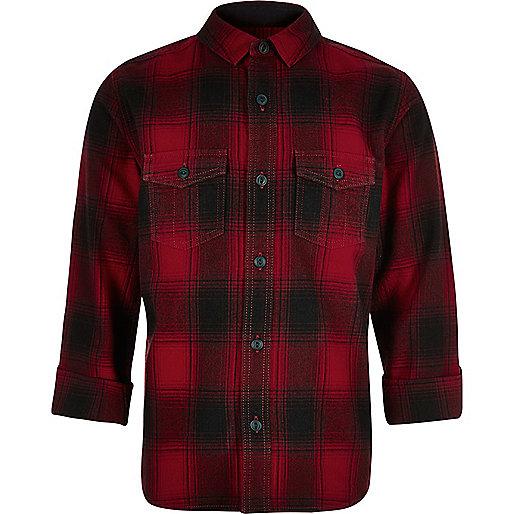 Boys red check shirt