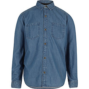 Boys blue wash denim shirt