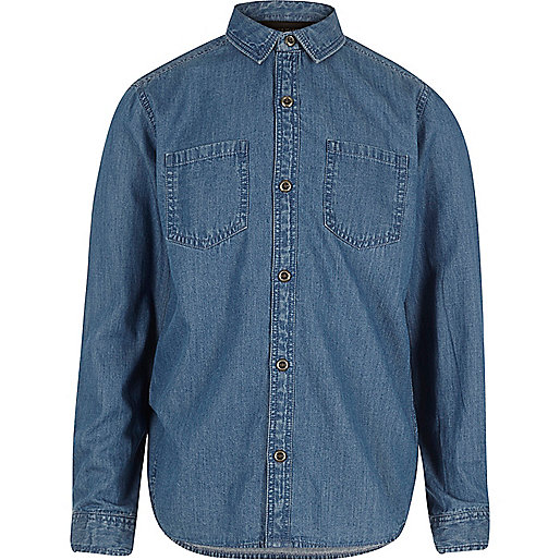 Boys blue wash denim shirt