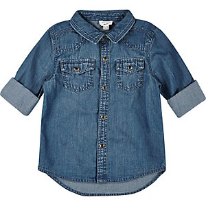 Mini boys vintage wash denim shirt
