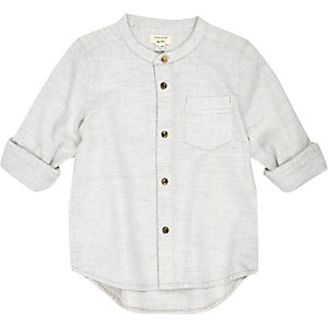 Mini boys ecru textured grandad shirt