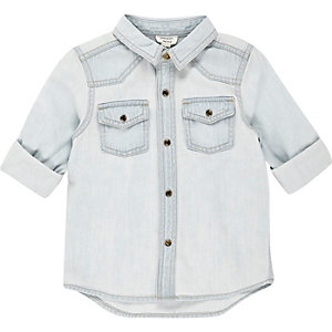 Mini boys light blue wash denim shirt