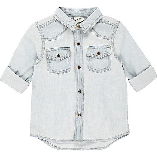 Chemise en jean délavage bleu clair mini garçon