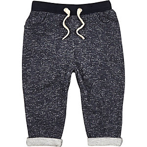Mini boys blue textured jogger