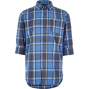 Boys blue brushed check shirt