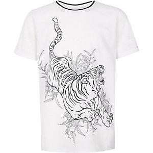 T-shirt en tulle blanc à imprimé tigre pour garçon