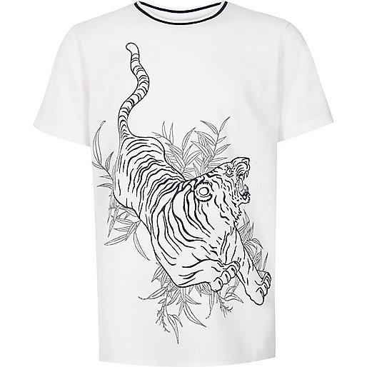 Boys white tiger mesh t-shirt