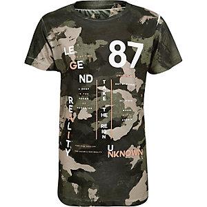 Boys khaki camouflage print t-shirt