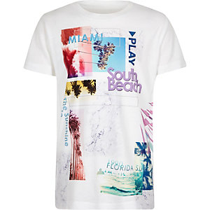 Boys white print t-shirt