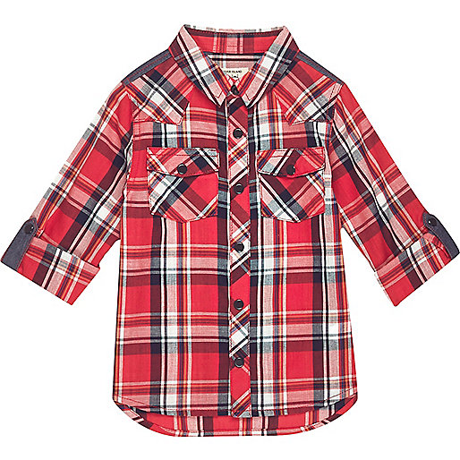 Mini boys red checked shirt