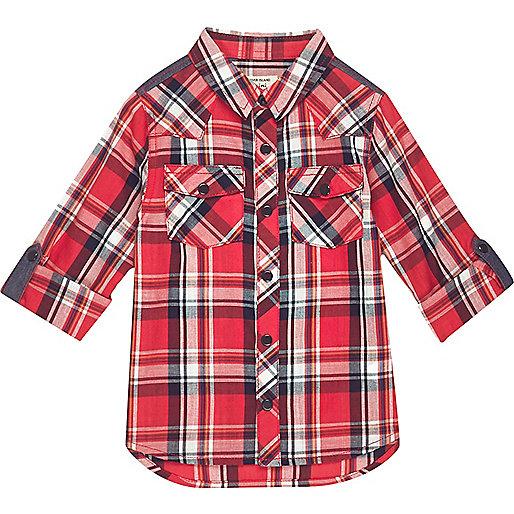 Mini boys red checked shirt