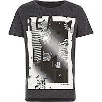 T-shirt à imprimé Reality noir pour garçon