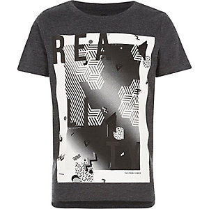Boys black 'Reality' print t-shirt