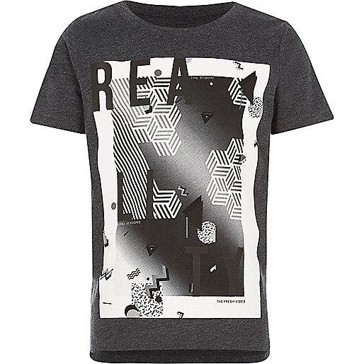 Boys black 'Reality' print t-shirt