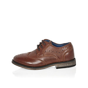 Mini boys brown brogue shoes