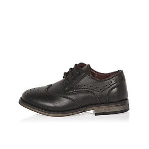 Mini boys black brogue shoes