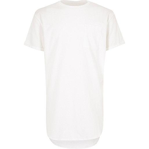 Boys white curved hem t-shirt