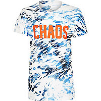 T-shirt bleu à imprimé chaos pour garçon