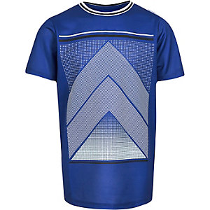 Boys blue mesh sports print t-shirt
