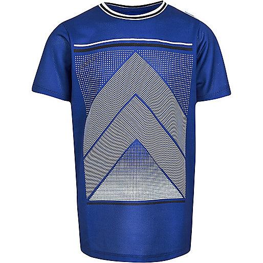 Boys blue mesh sports print t-shirt