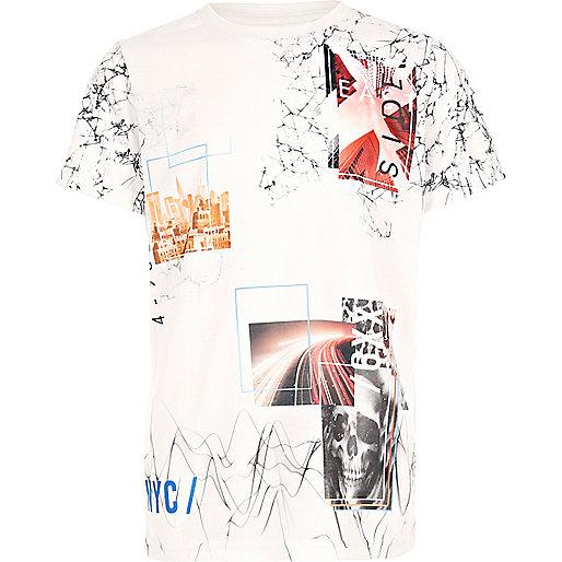 Boys white collage t-shirt