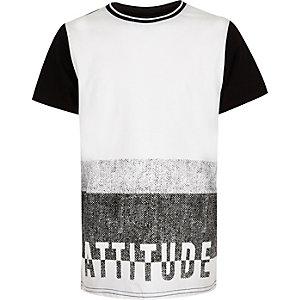 Boys white textured attitude t-shirt