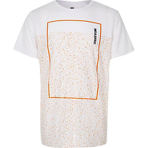 Boys white speckled print t-shirt