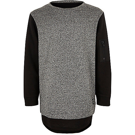 Boys grey double layer sweatshirt