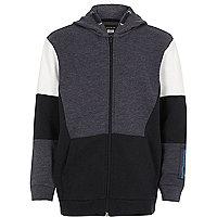 Boys blue color block zip hoodie
