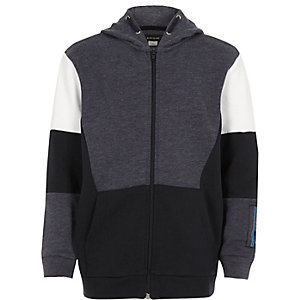 Boys blue colour block zip up hoodie