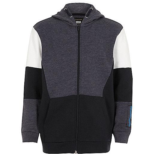 Boys blue colour block zip up hoodie