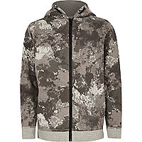 Hoodie in Khaki mit Camouflage-Muster