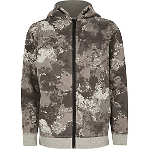 Boys khaki camo zip up hoodie