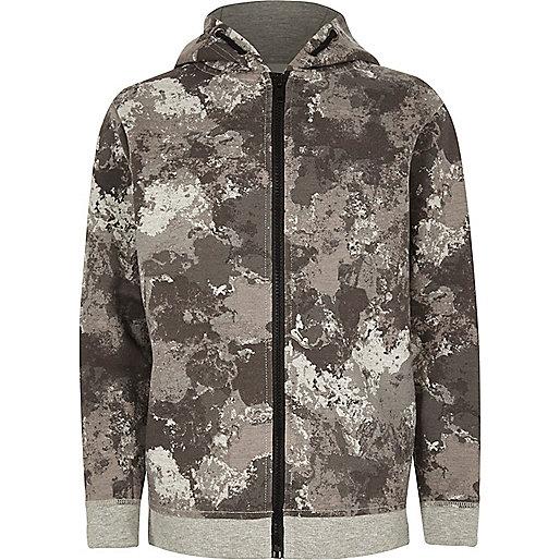 Sweat camouflage kaki à capuche pour garçon