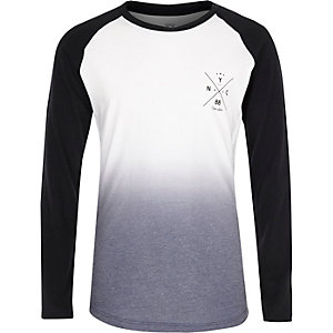 Boys white faded raglan top