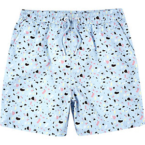 Boys light blue print swim trunks