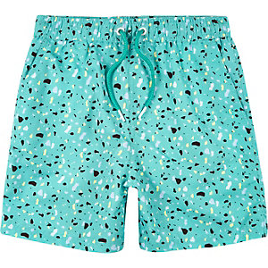 Boys light green print swim trunks