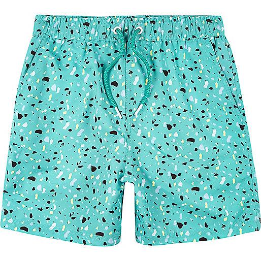 Boys light green print swim trunks