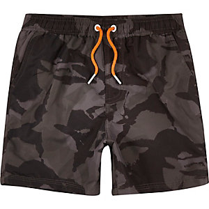 Dark khaki camouflage print swim trunks