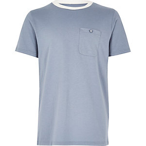 Boys blue contrast neck T-shirt
