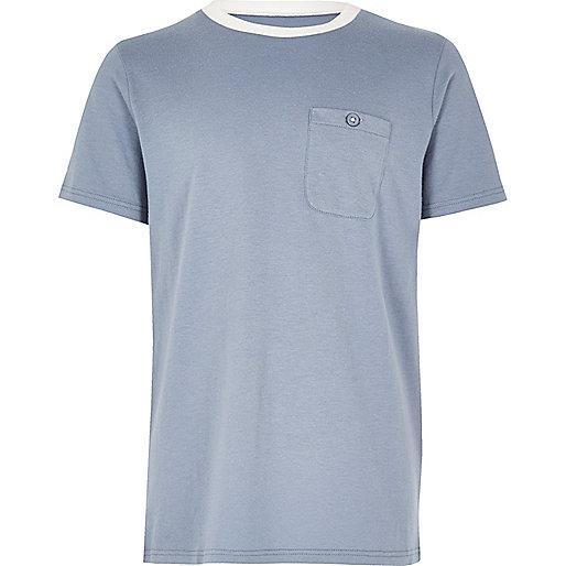 Boys blue contrast neck T-shirt