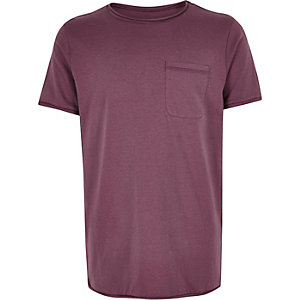 Boys mauve textured t-shirt