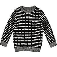 Schwarzer, gestreifter Pullover